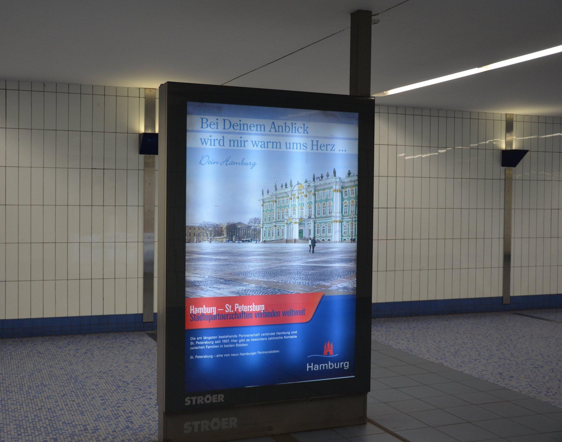 Städtepartnerschaft St. Petersburg - Werbetafel im Europapassage