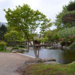 Das Teehaus im Japanischen Garten, der Bestandteil des Parks Planten und Blomen ist.